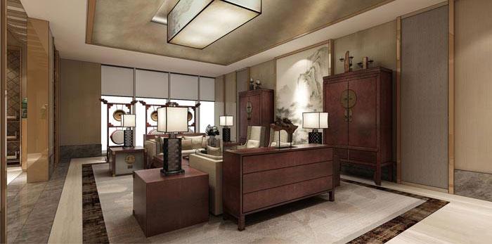 中式办公空间装修设计效果图