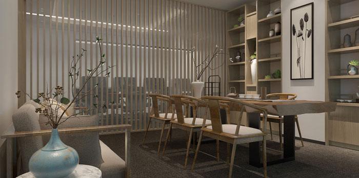 现代中式办公室装修设计效果图
