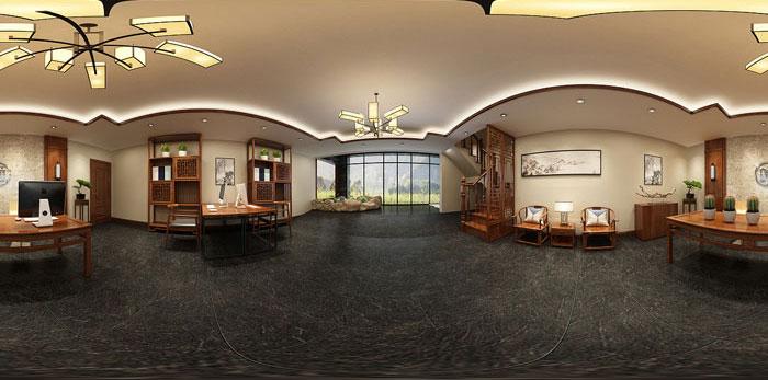 中式办公装修设计效果图