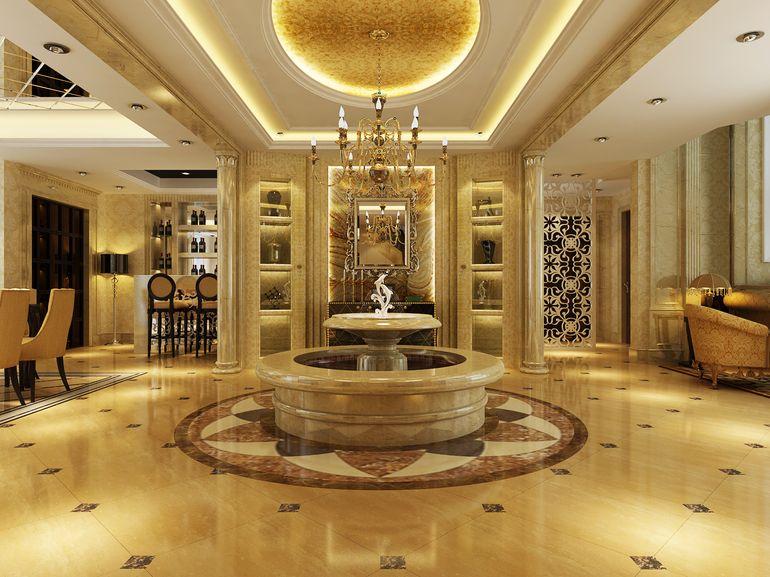 别墅客厅装修的灯光设计的效果图图片