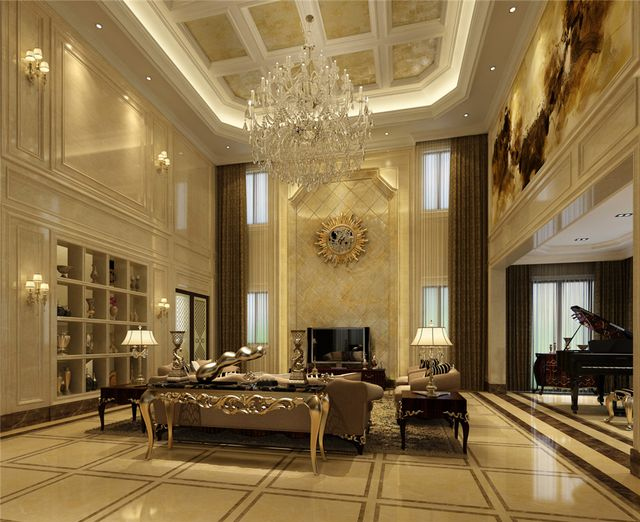 美式风格二楼大厅效果图