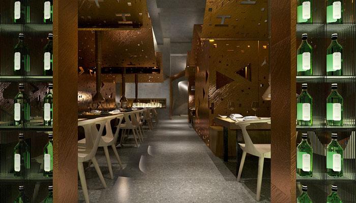 韓國烤肉店裝修設計案例效果圖_嵐禾裝飾設計