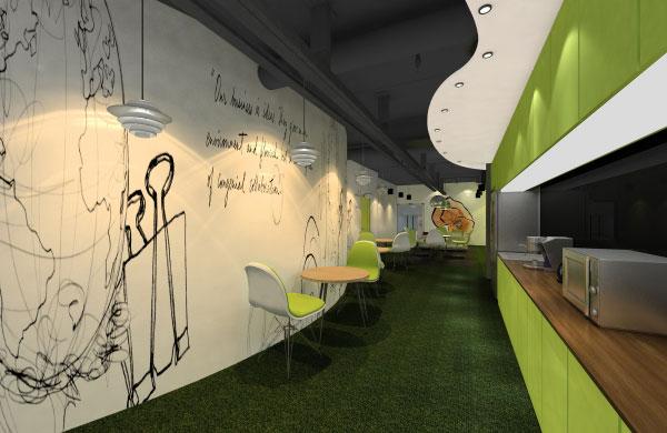 办公室是一个较严肃的地方,在这个茶水间设计的时候,整个空间色彩比较丰富,此方案设计以紫色为背景,配以其他缤纷色彩,构成了一个热情的休闲空间,线跟面的完美结合使这个茶水间得以延伸,加强了空间感就要显得轻松自在,并且空间的设计显得随意。