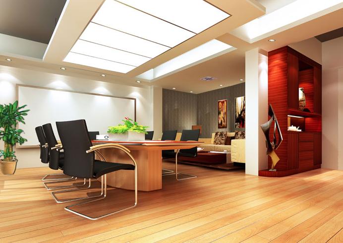 暖色系办公室装修设计效果图