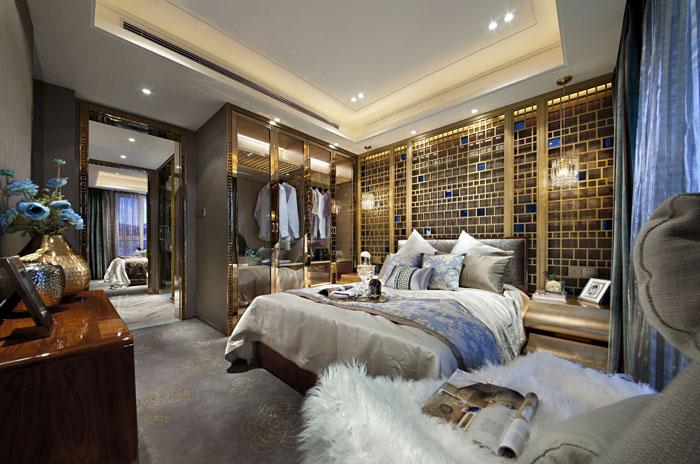 欧式风格别墅卧室整体布局装修设计效果图
