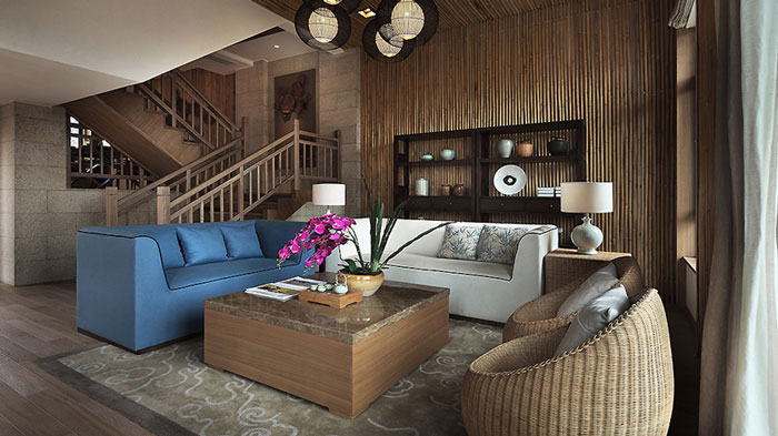 东南亚风格豪宅客厅装修设计效果图