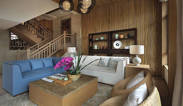 东南亚风格豪宅客厅整体装修设计效果图