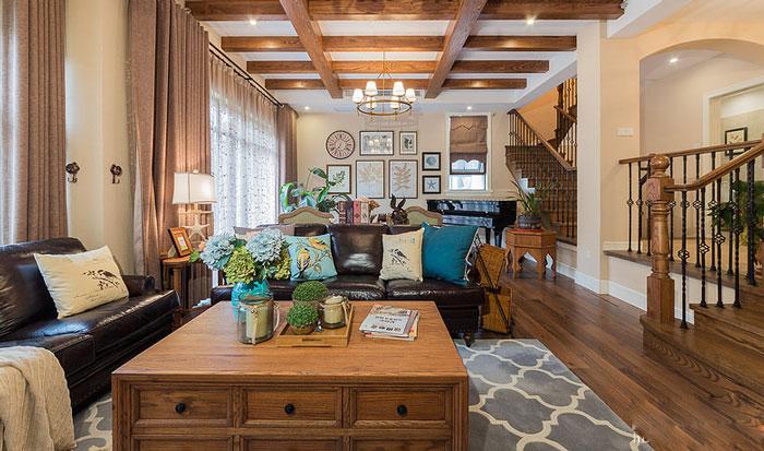 美式风格别墅客厅整体布局装修设计效果图