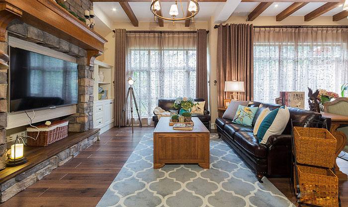 美式风格别墅电视背景墙装修设计效果图