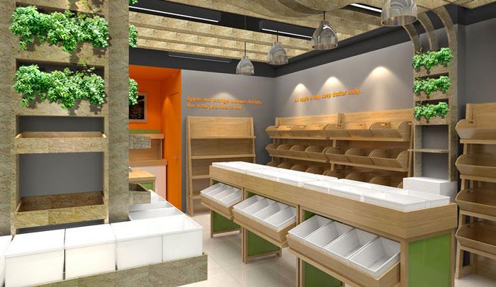 200平方米水果店货架区域装修设计案例效果图