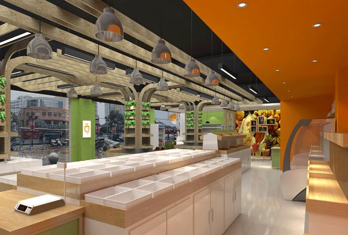 200平方米水果店购买区域装修设计案例效果图