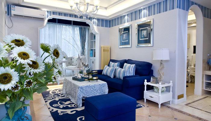 地中海风格别墅沙发区域装修设计效果图