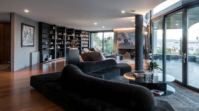 艺术系别墅室内大厅沙发区域软装装修设计案例效果图