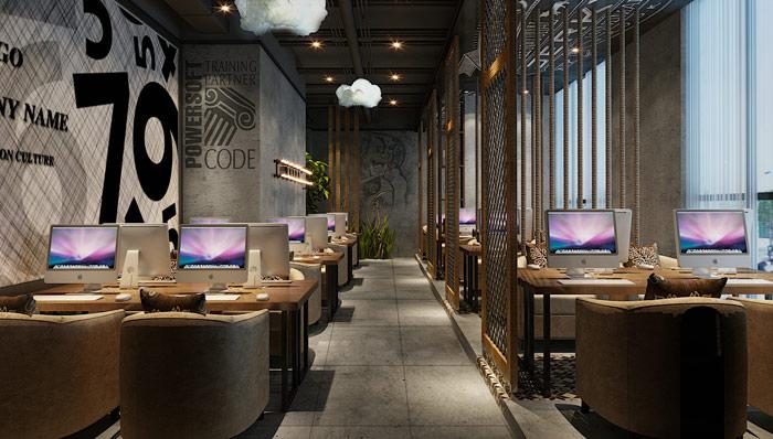 现代创新网咖上网区域走廊装修设计案例效果图