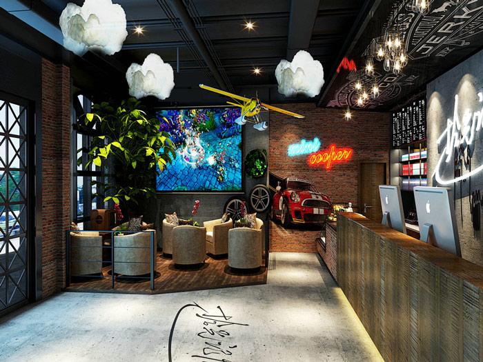 现代创新网咖吧台休闲区装修设计案例效果图