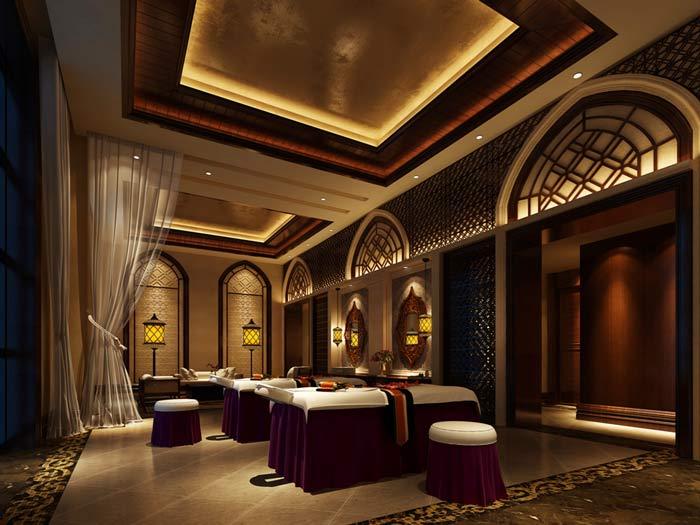 杭州spa会所墙面装饰装修设计案例效果图