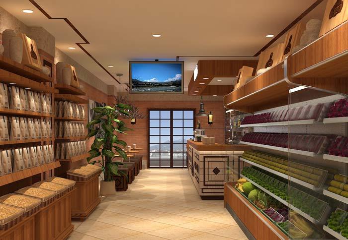 鲜农水果店摆放区域装修设计案例效果图