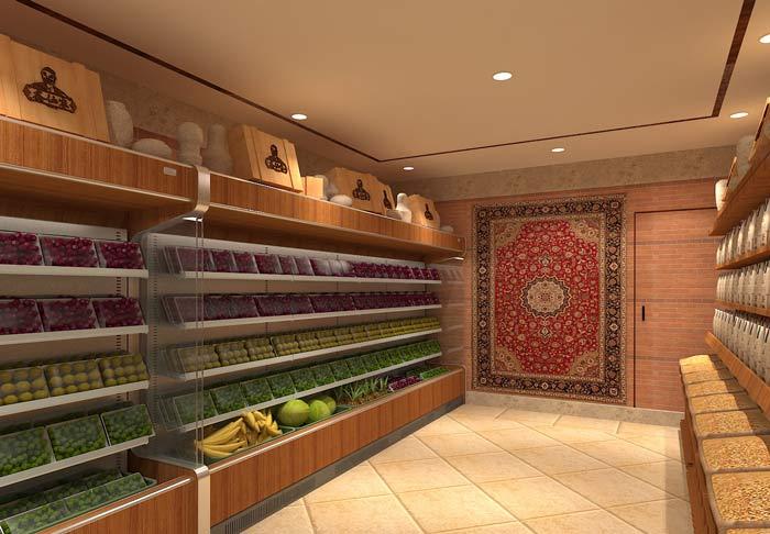 鲜农水果店水果摆放区域装修设计案例效果图