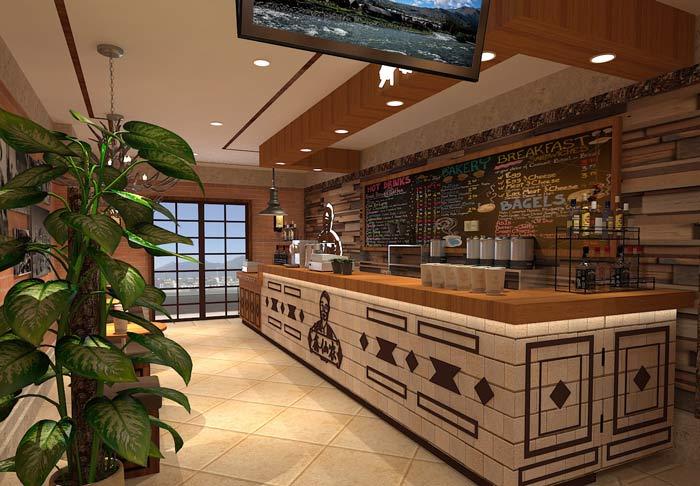 鲜农水果店前台吧台装修设计案例效果图