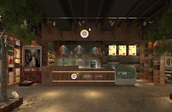 紫雅咖啡厅前台装修设计案例效果图