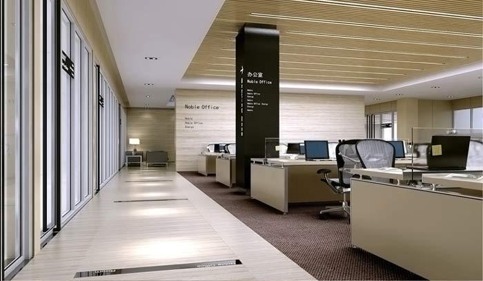 诺比节能科技办公室办公区走道装修设计案例效果图