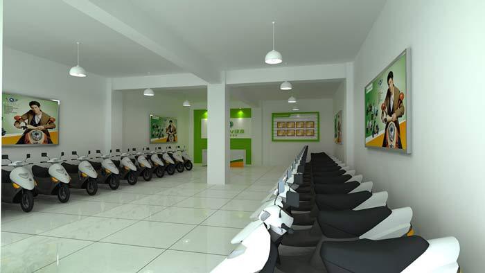 綠源電動車店鋪,店面電動車大廳裝修設計案例效果圖