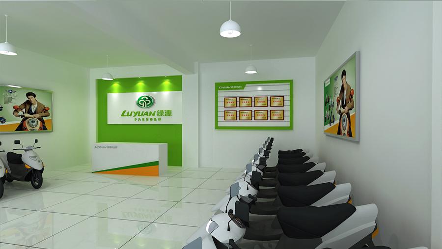 綠源電動車店鋪,店面電動車擺放區域前臺裝修設計案例效果圖