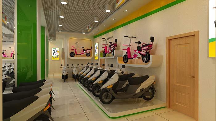 綠源電動車店鋪,店面電動車擺放區裝修設計案例效果圖