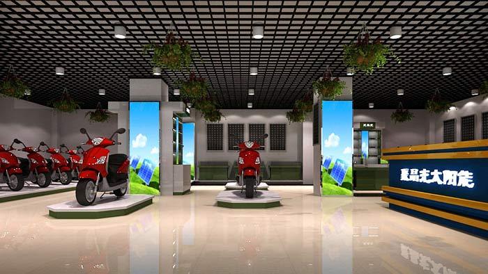 聚晶光太阳能电动车店面,店铺前台装修设计案例效果图