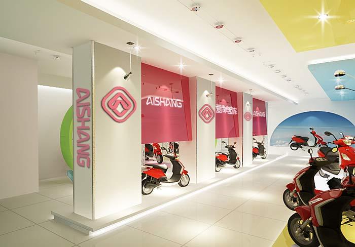 电动车销售展示中心、店面装修设计案例