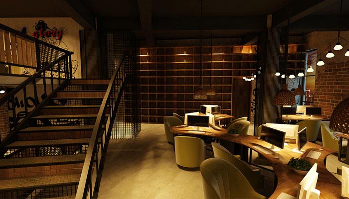 月轩网咖楼梯装修设计效果图