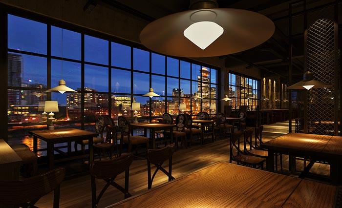 浪漫别致主题餐厅窗户区域装修设计案例效果图