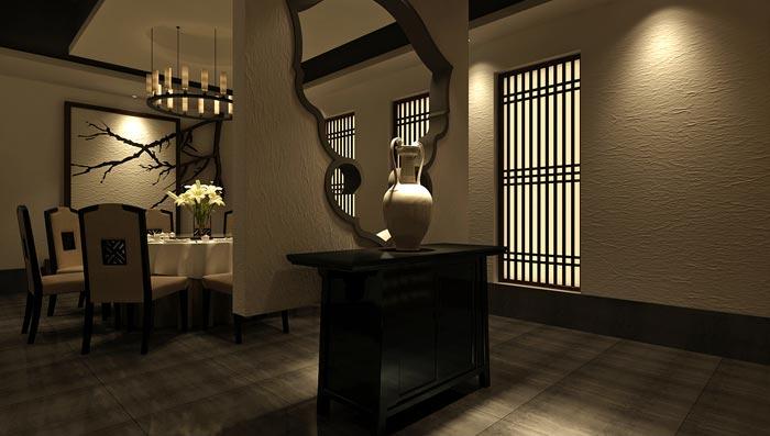现代中式风格中餐厅包厢隔断装修设计案例效果图