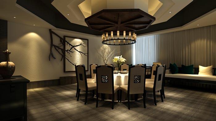 现代中式风格中餐厅包厢吊顶装修设计案例效果图