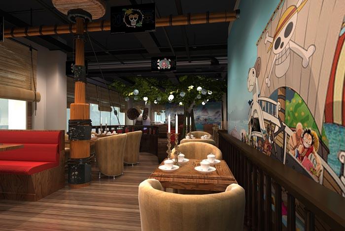 海贼王主题餐厅装修设计案例效果图_岚禾装饰设计