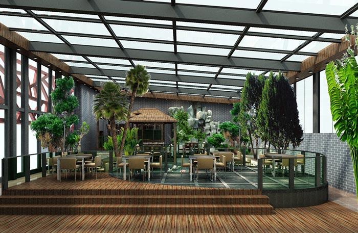 生态园特色餐厅大厅装修设计案例效果图