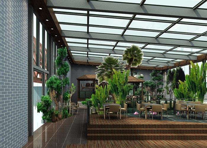 生态园特色餐厅大厅绿色植物装修设计案例效果图