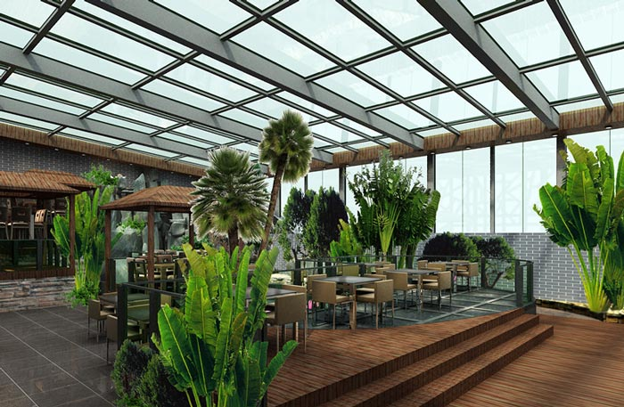 生态园特色餐厅餐桌装修设计案例效果图