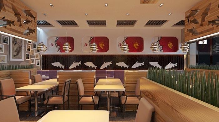 烤鱼店餐厅餐桌装修设计案例效果图