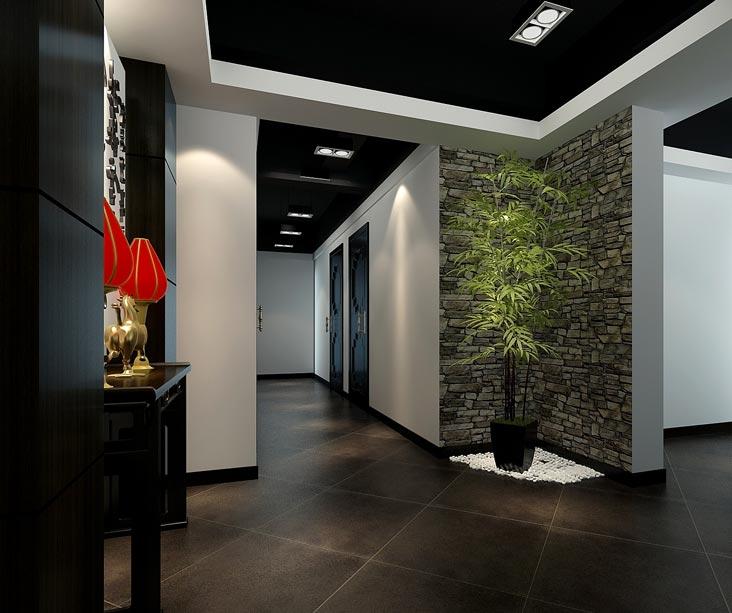 中式风格茶楼茶室走廊过道装修设计案例效果图