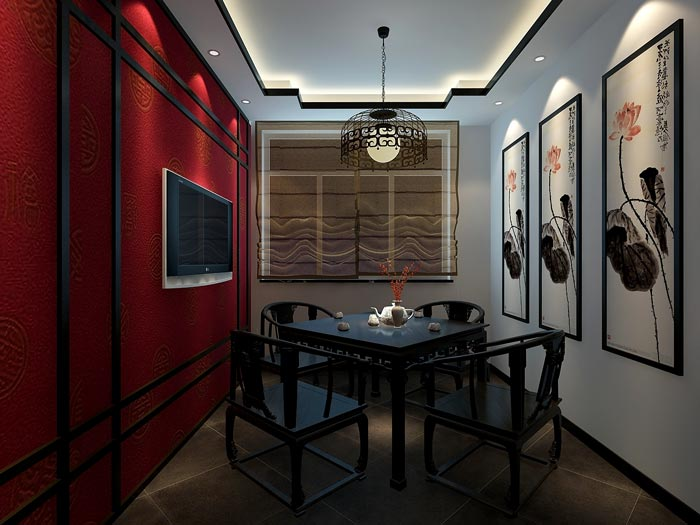 中式风格茶楼茶室品茶室装修设计案例效果图
