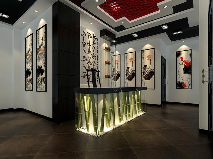 中式风格茶楼茶室背景挂画装修设计案例效果图