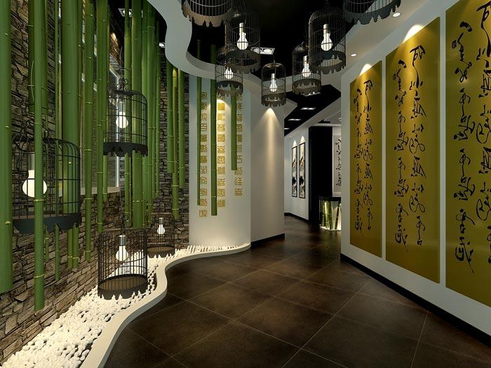 中式风格茶楼茶室背景墙装修设计案例效果图