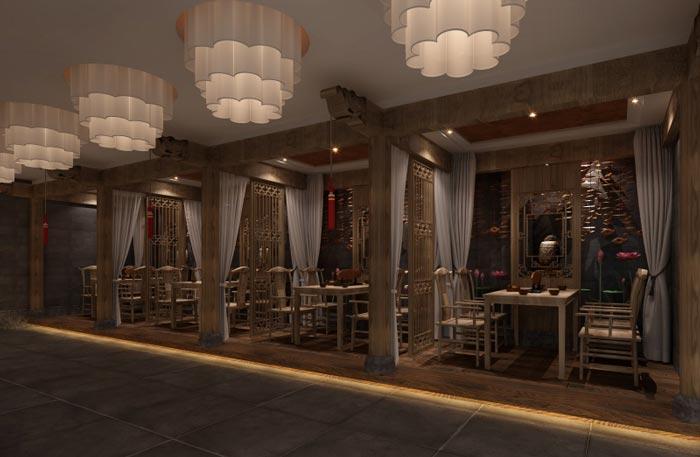 古朴茶楼茶室大厅装修设计案例效果图