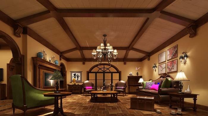 半山国际豪华别墅客厅软装装修设计案例效果图