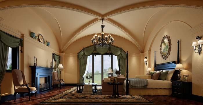 半山国际豪华别墅卧室装修设计案例效果图