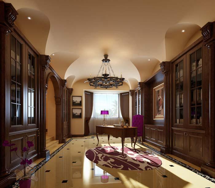 半山国际豪华别墅书房装修设计案例效果图