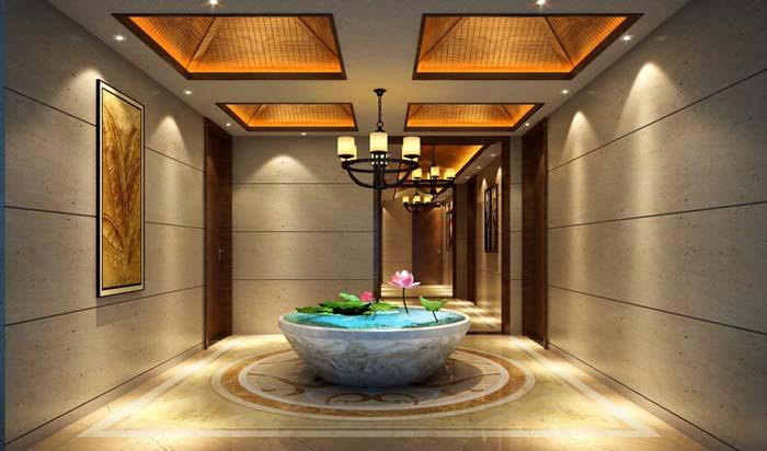 萧山新中式豪宅走廊装修设计案例效果图