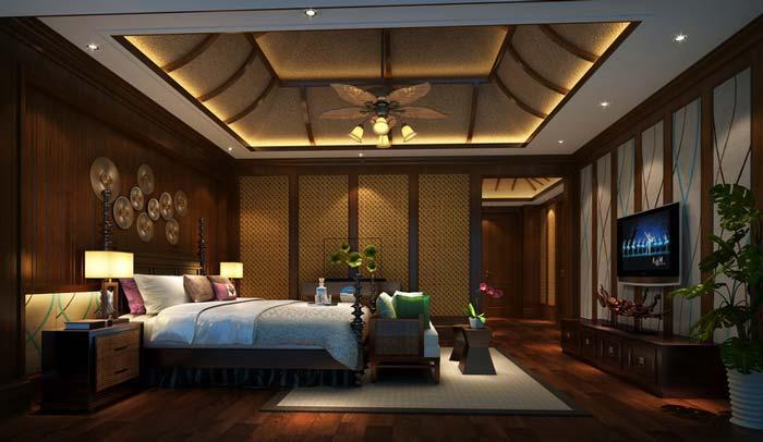 萧山新中式豪宅卧室床区域装修设计案例效果图