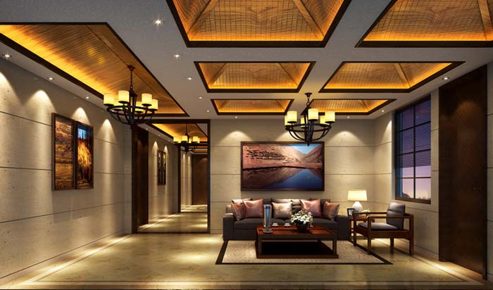 萧山新中式豪宅简约时尚之美装修设计案例效果图